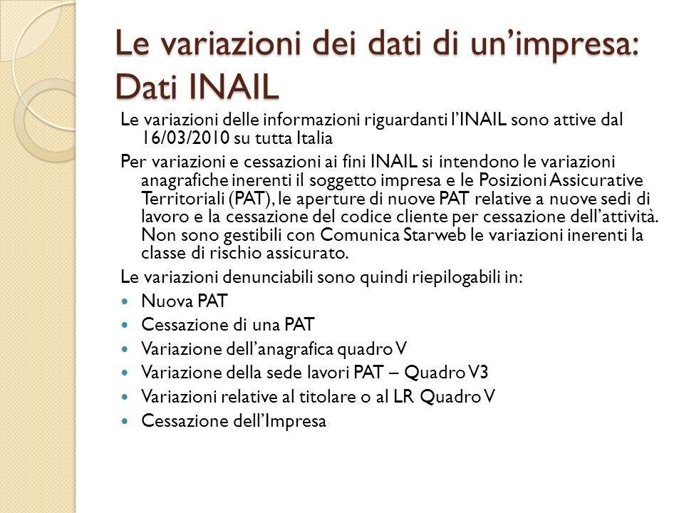 Le variazioni dei dati di unimpresa: Dati INAIL Le variazioni delle informazioni riguardanti lINAIL sono attive dal 16/03/2010 su tutta Italia Per var