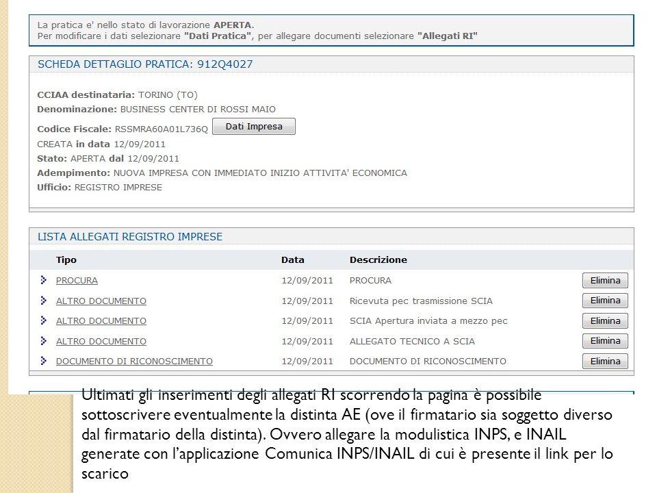 Ultimati gli inserimenti degli allegati RI scorrendo la pagina è possibile sottoscrivere eventualmente la distinta AE (ove il firmatario sia soggetto