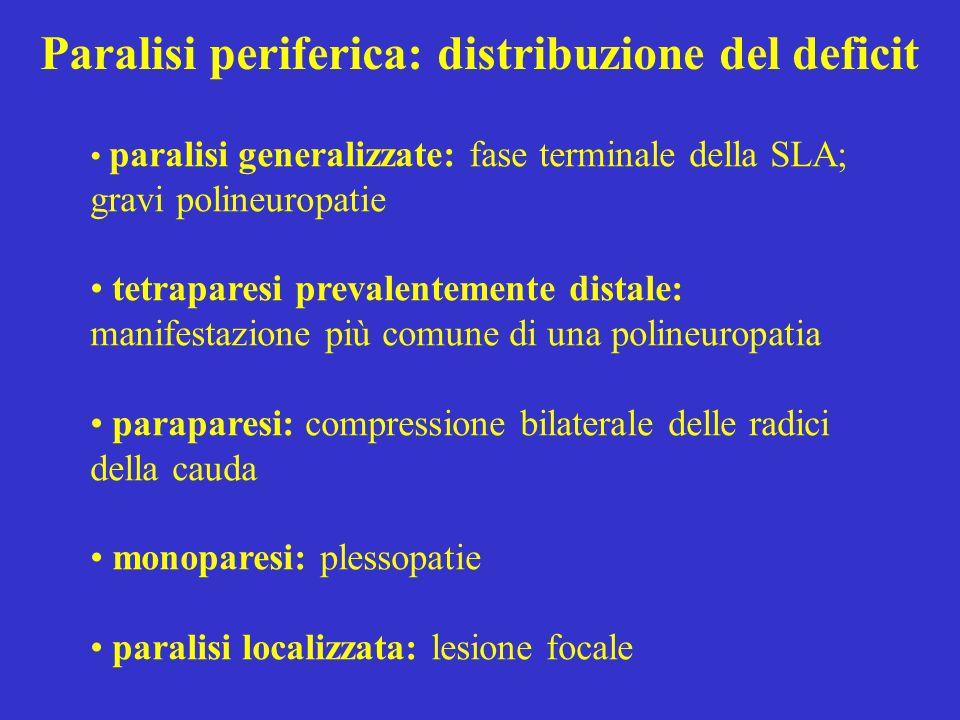 Paralisi periferica: distribuzione del deficit paralisi generalizzate: fase terminale della SLA; gravi polineuropatie tetraparesi prevalentemente dist