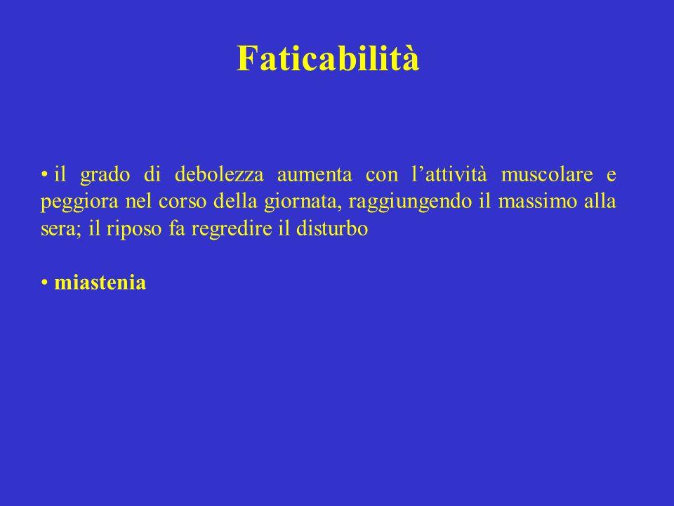 Faticabilità il grado di debolezza aumenta con lattività muscolare e peggiora nel corso della giornata, raggiungendo il massimo alla sera; il riposo f