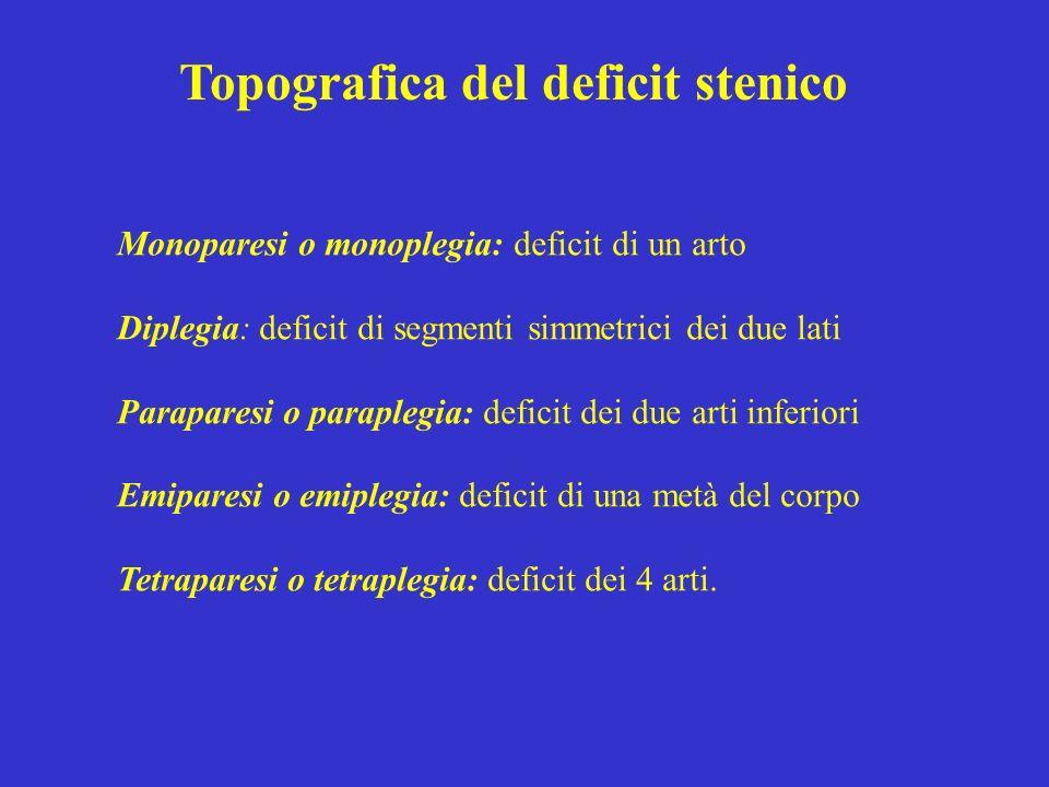 Topografica del deficit stenico Monoparesi o monoplegia: deficit di un arto Diplegia: deficit di segmenti simmetrici dei due lati Paraparesi o paraple