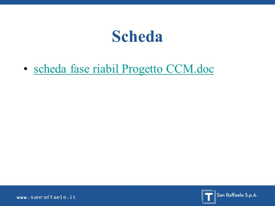 www.sanraffaele.it Scheda scheda fase riabil Progetto CCM.doc