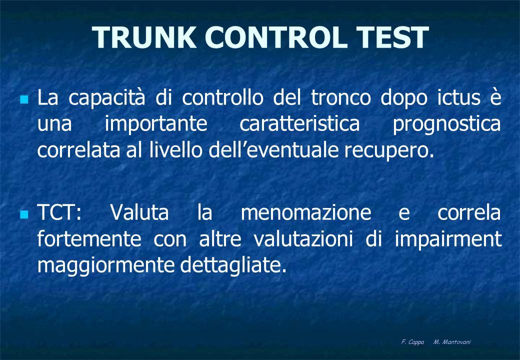 TRUNK CONTROL TEST Nella valutazione dopo stroke: valido: i singoli item del TCT descrivono una variabile omogenea; affidabile; sensibile: buona sensibilità ai cambiamenti in fase acuta e subacuta.