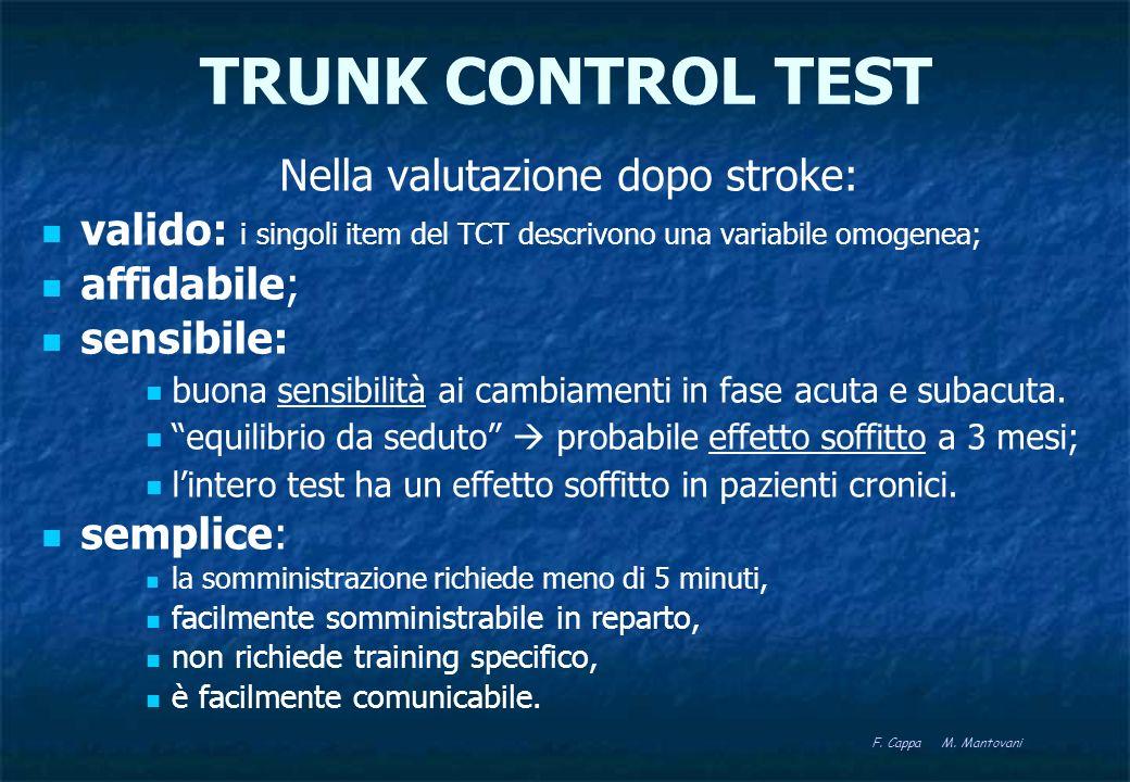TRUNK CONTROL TEST Nella valutazione dopo stroke: valido: i singoli item del TCT descrivono una variabile omogenea; affidabile; sensibile: buona sensi