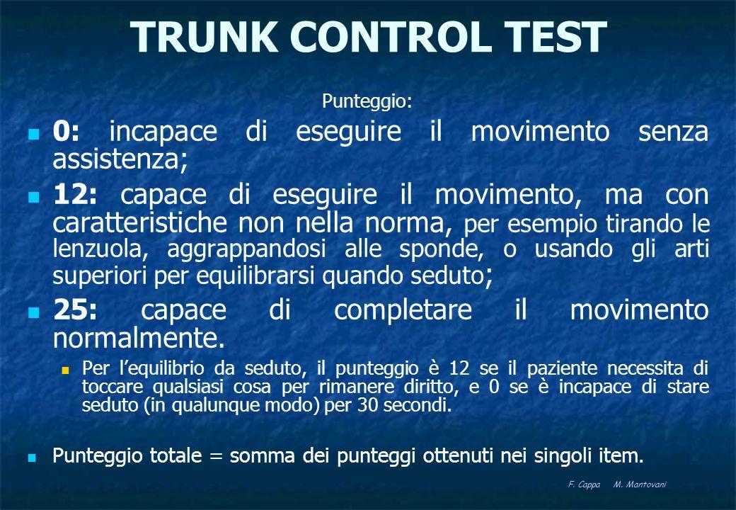 TRUNK CONTROL TEST Item in ordine crescente di difficoltà: equilibrio da seduto, girarsi da supino verso il lato debole, girarsi da supino verso il lato forte, sedersi dalla posizione supina.