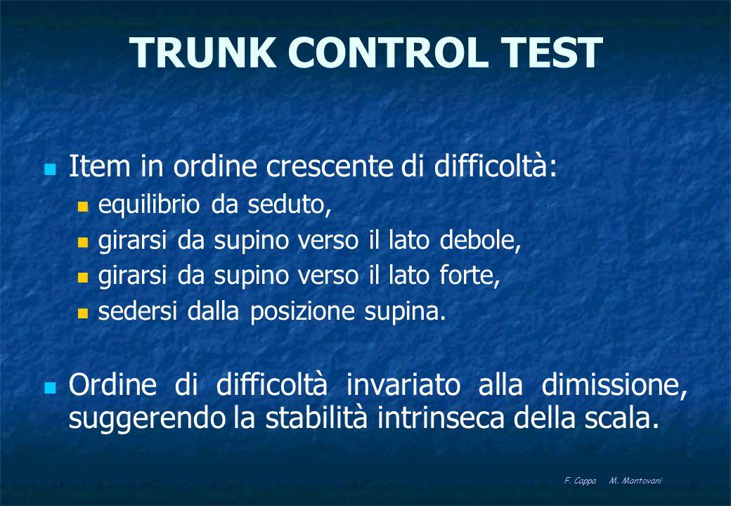 TRUNK CONTROL TEST Ha valore prognostico: un punteggio 50 a 6 settimane dallictus è predittivo del recupero del cammino a 18 settimane.