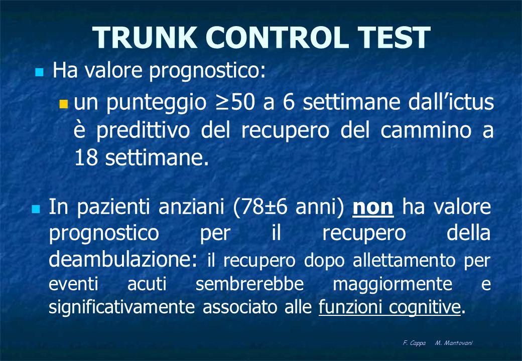 TRUNK CONTROL TEST Ha valore prognostico: un punteggio 50 a 6 settimane dallictus è predittivo del recupero del cammino a 18 settimane. F. Cappa M. Ma