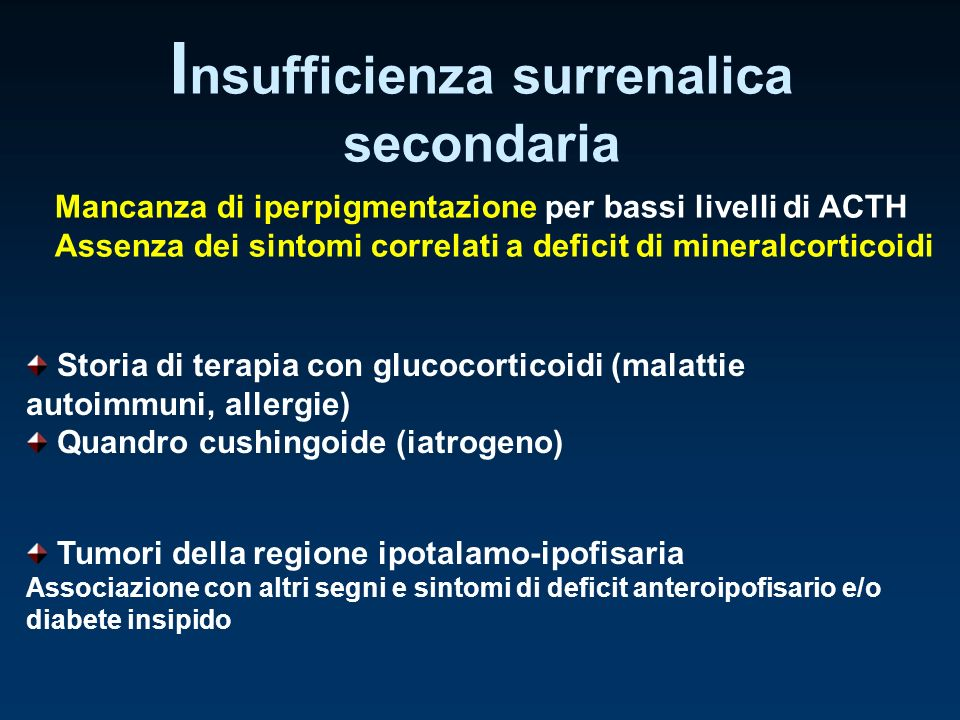 Storia di terapia con glucocorticoidi (malattie autoimmuni, allergie) Quandro cushingoide (iatrogeno) I nsufficienza surrenalica secondaria Mancanza d
