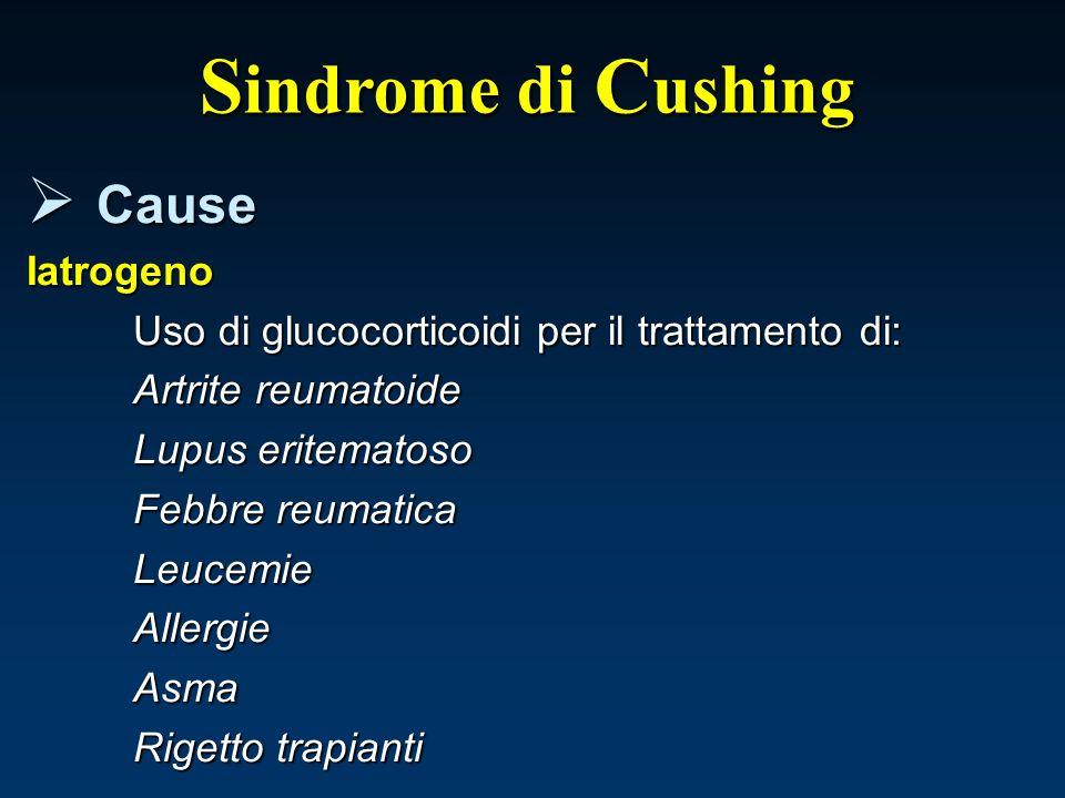 S indrome di C ushing Cause CauseIatrogeno Uso di glucocorticoidi per il trattamento di: Artrite reumatoide Lupus eritematoso Febbre reumatica Leucemi
