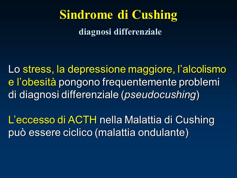 Sindrome di Cushing diagnosi differenziale Lo stress, la depressione maggiore, lalcolismo e lobesità pongono frequentemente problemi di diagnosi diffe