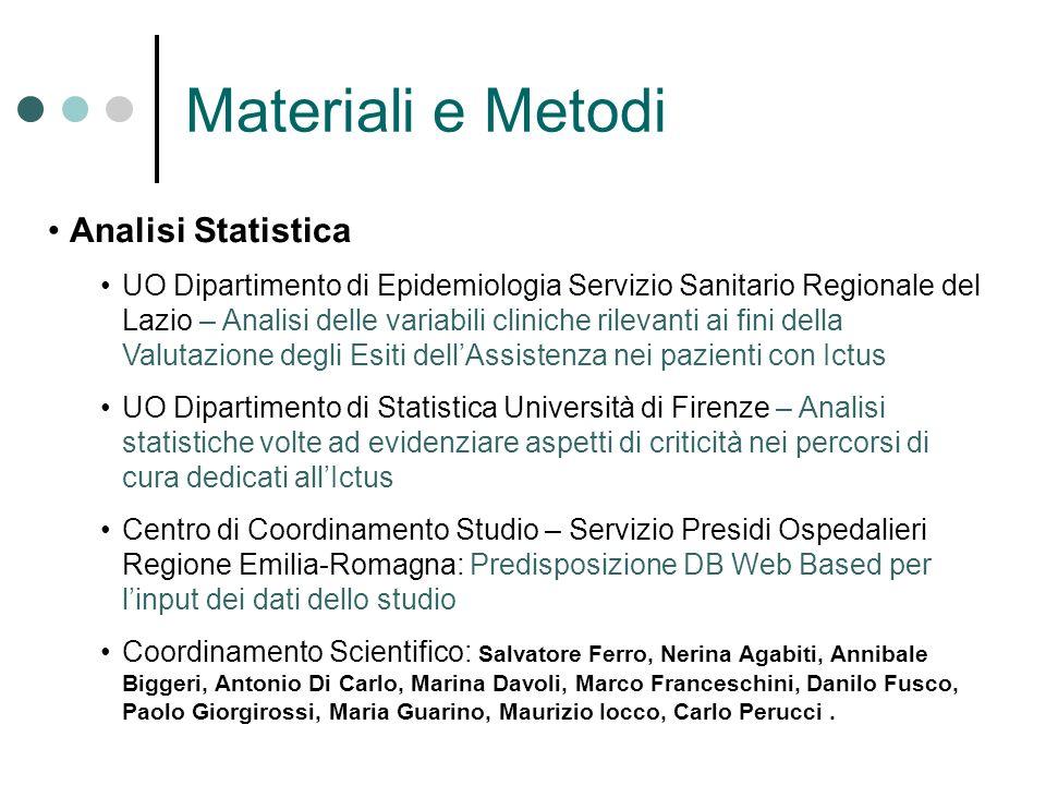 Materiali e Metodi Analisi Statistica UO Dipartimento di Epidemiologia Servizio Sanitario Regionale del Lazio – Analisi delle variabili cliniche rilev