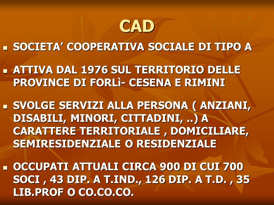 CAD SOCIETA COOPERATIVA SOCIALE DI TIPO A SOCIETA COOPERATIVA SOCIALE DI TIPO A ATTIVA DAL 1976 SUL TERRITORIO DELLE PROVINCE DI FORLì- CESENA E RIMIN
