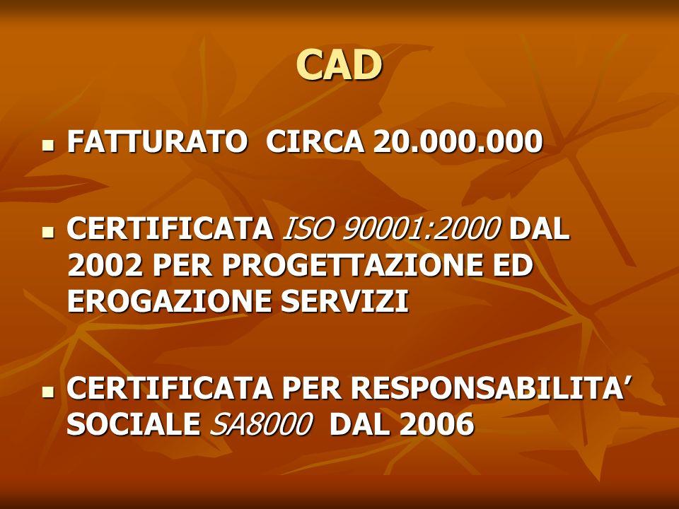 CAD FATTURATO CIRCA 20.000.000 FATTURATO CIRCA 20.000.000 CERTIFICATA ISO 90001:2000 DAL 2002 PER PROGETTAZIONE ED EROGAZIONE SERVIZI CERTIFICATA ISO