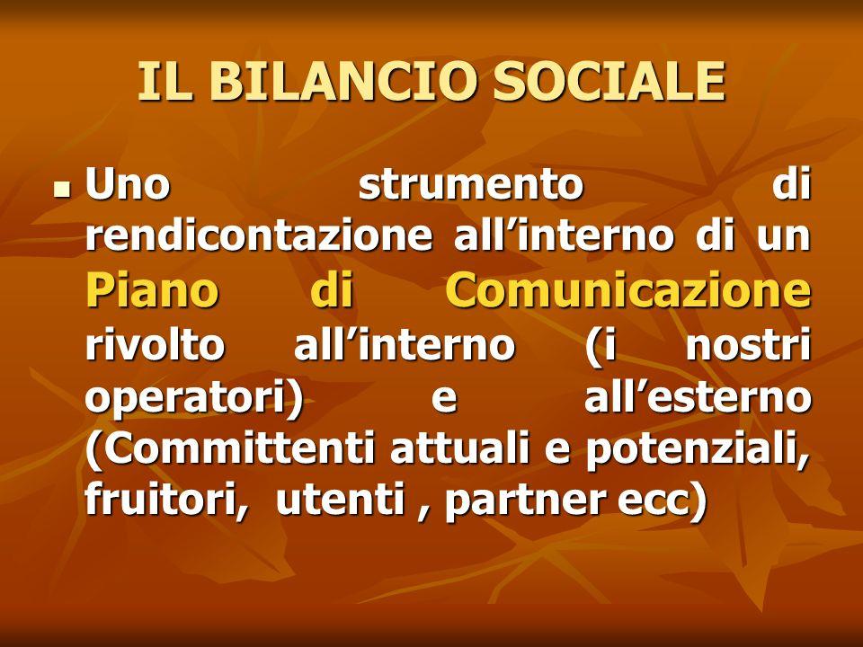 IL BILANCIO SOCIALE Uno strumento di rendicontazione allinterno di un Piano di Comunicazione rivolto allinterno (i nostri operatori) e allesterno (Com