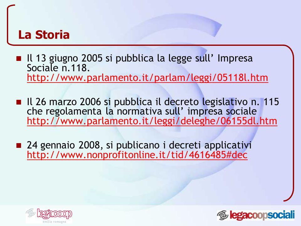 La Storia Il 13 giugno 2005 si pubblica la legge sull Impresa Sociale n.118. http://www.parlamento.it/parlam/leggi/05118l.htm http://www.parlamento.it