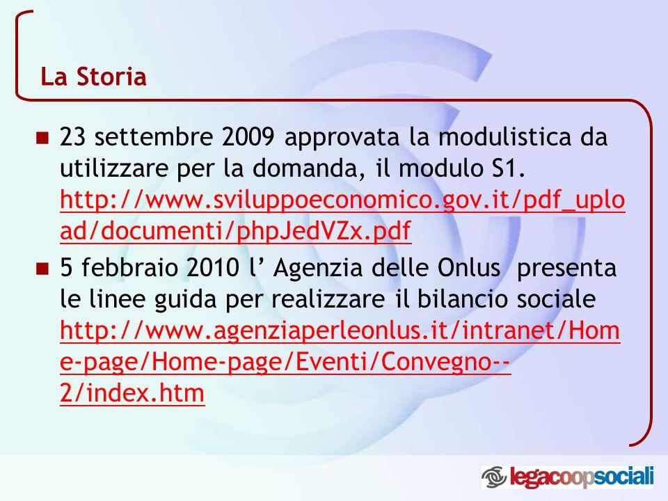 La Storia 23 settembre 2009 approvata la modulistica da utilizzare per la domanda, il modulo S1. http://www.sviluppoeconomico.gov.it/pdf_uplo ad/docum