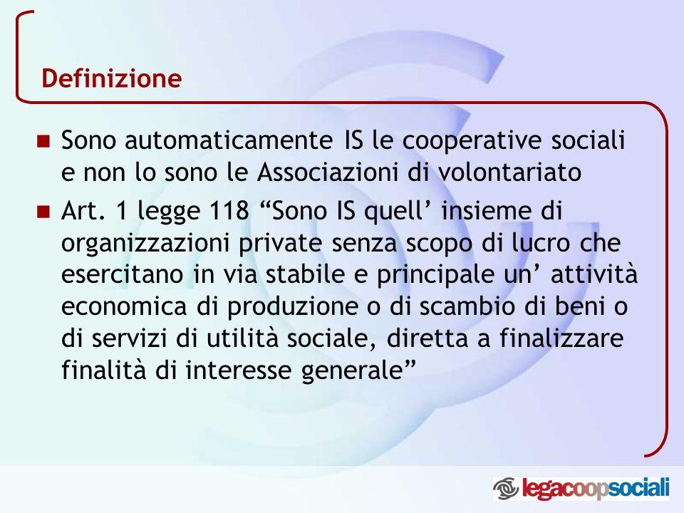 Definizione Sono automaticamente IS le cooperative sociali e non lo sono le Associazioni di volontariato Art. 1 legge 118 Sono IS quell insieme di org