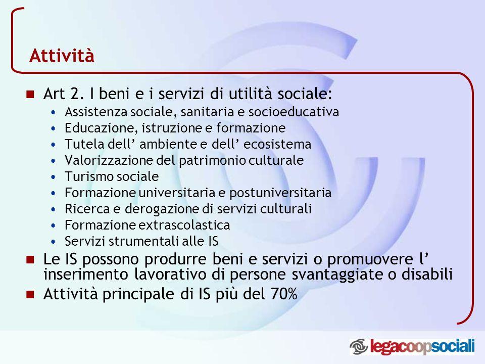 Attività Art 2. I beni e i servizi di utilità sociale: Assistenza sociale, sanitaria e socioeducativa Educazione, istruzione e formazione Tutela dell