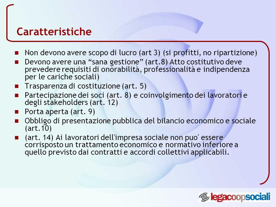 Caratteristiche Non devono avere scopo di lucro (art 3) (si profitti, no ripartizione) Devono avere una sana gestione (art.8) Atto costitutivo deve pr