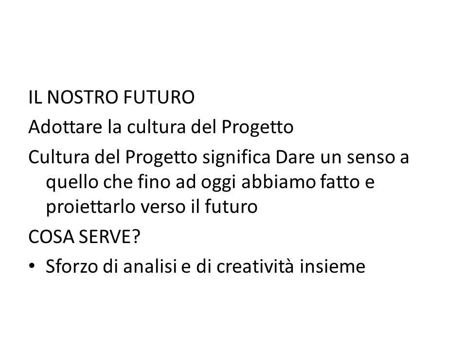 IL NOSTRO FUTURO Adottare la cultura del Progetto Cultura del Progetto significa Dare un senso a quello che fino ad oggi abbiamo fatto e proiettarlo v