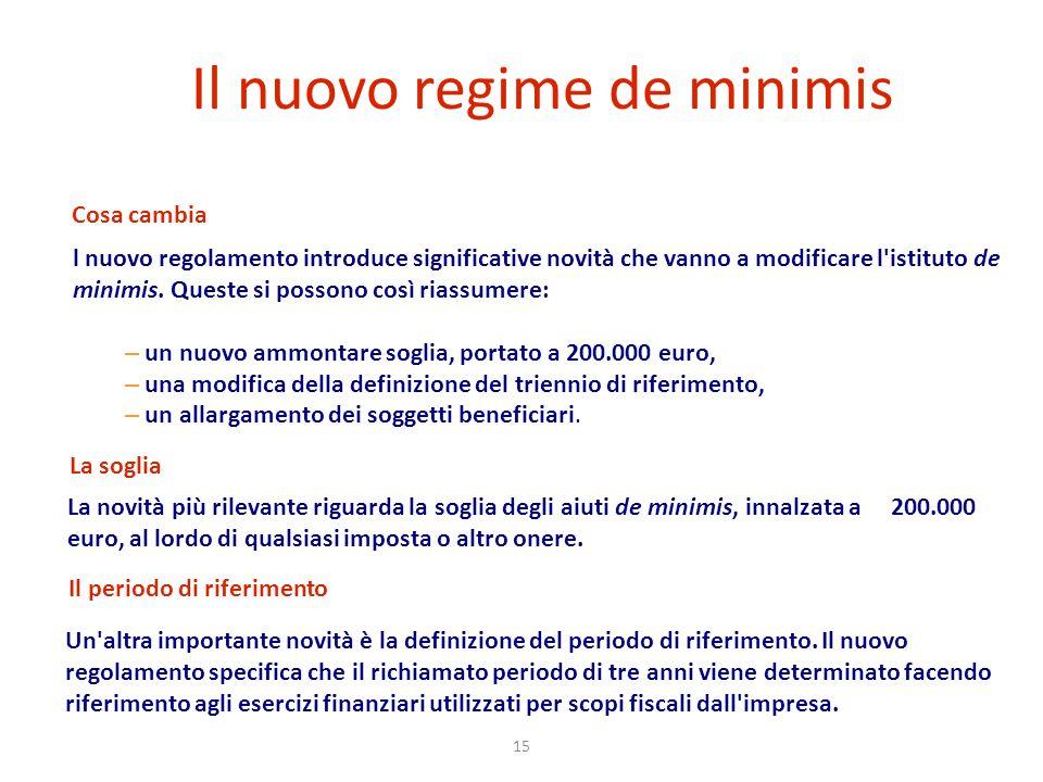 15 Il nuovo regime de minimis La novità più rilevante riguarda la soglia degli aiuti de minimis, innalzata a 200.000 euro, al lordo di qualsiasi impos