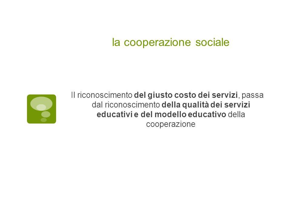la cooperazione sociale Il riconoscimento del giusto costo dei servizi, passa dal riconoscimento della qualità dei servizi educativi e del modello edu