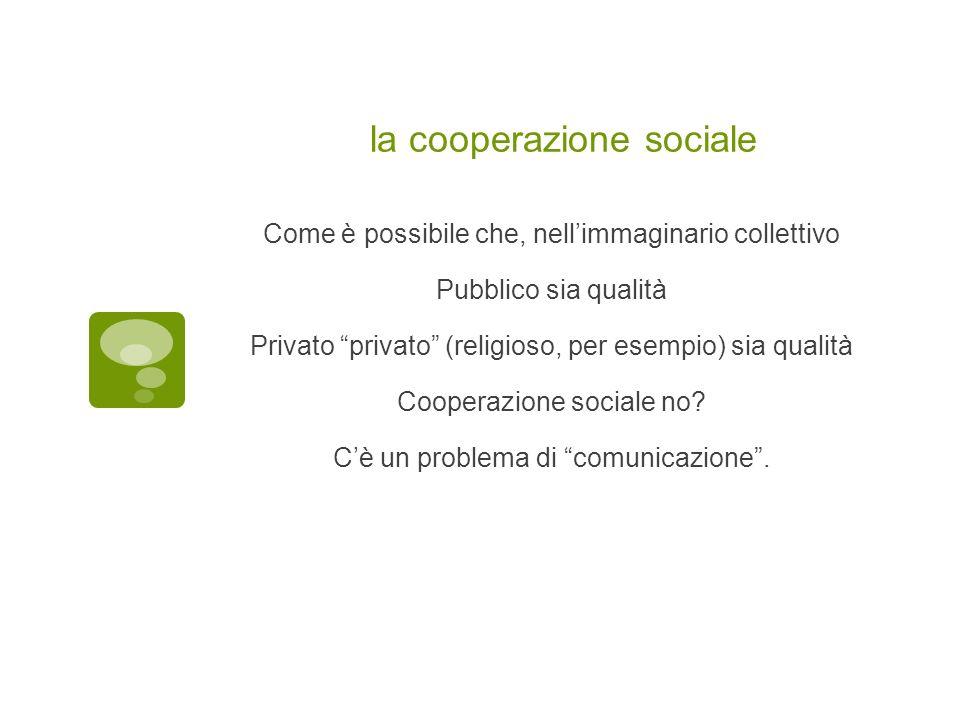 la cooperazione sociale Come è possibile che, nellimmaginario collettivo Pubblico sia qualità Privato privato (religioso, per esempio) sia qualità Coo