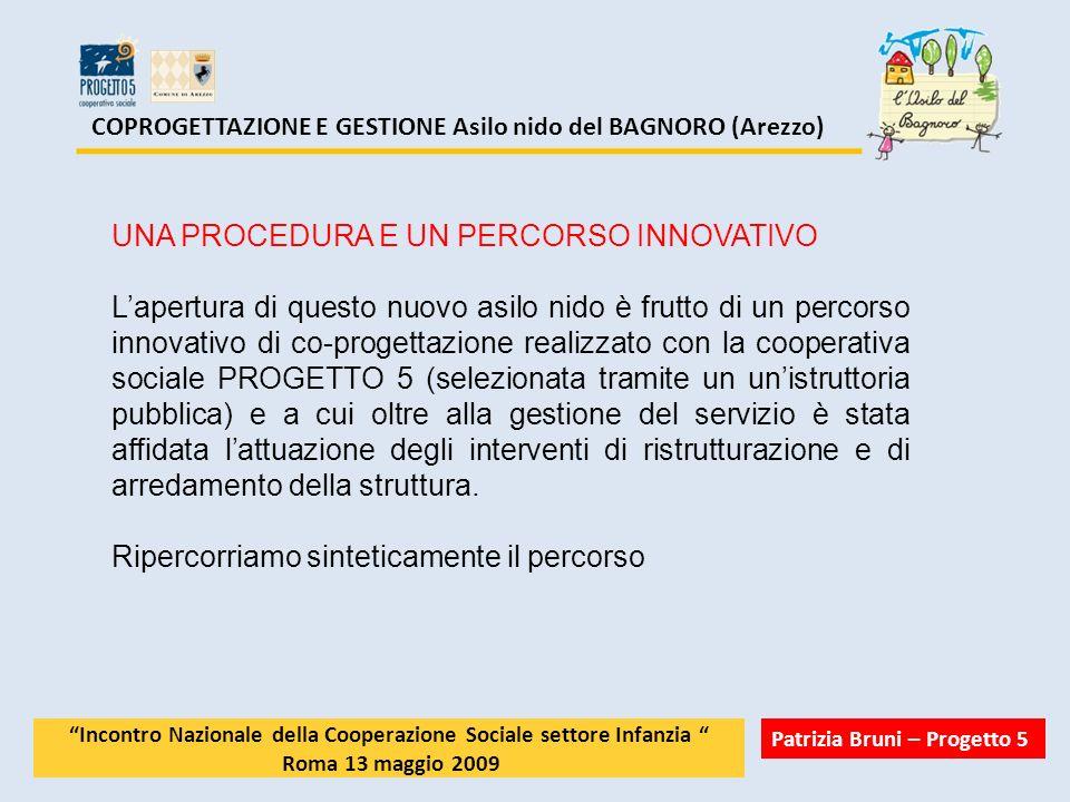 COPROGETTAZIONE E GESTIONE Asilo nido del BAGNORO (Arezzo) UNA PROCEDURA E UN PERCORSO INNOVATIVO Lapertura di questo nuovo asilo nido è frutto di un