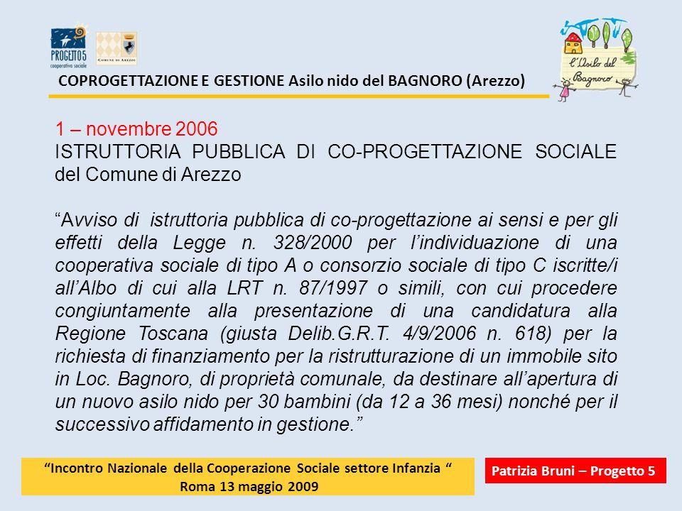 COPROGETTAZIONE E GESTIONE Asilo nido del BAGNORO (Arezzo) 1 – novembre 2006 ISTRUTTORIA PUBBLICA DI CO-PROGETTAZIONE SOCIALE del Comune di Arezzo Avv
