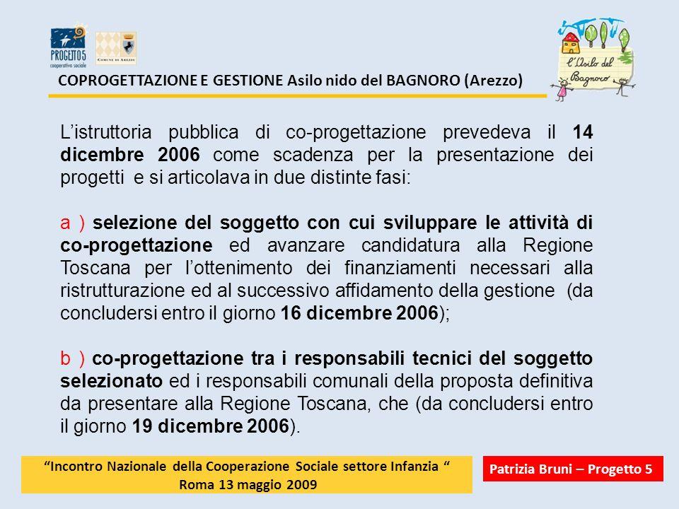 COPROGETTAZIONE E GESTIONE Asilo nido del BAGNORO (Arezzo) Listruttoria pubblica di co-progettazione prevedeva il 14 dicembre 2006 come scadenza per l