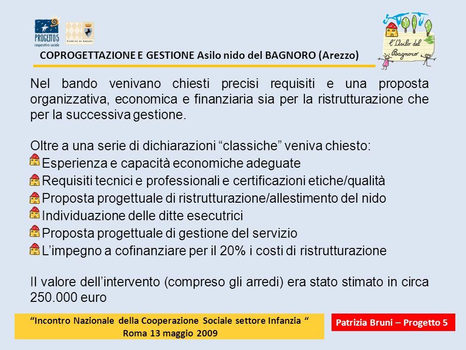 COPROGETTAZIONE E GESTIONE Asilo nido del BAGNORO (Arezzo) Nel bando venivano chiesti precisi requisiti e una proposta organizzativa, economica e fina