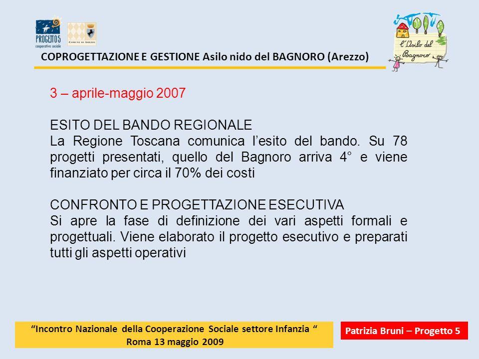 COPROGETTAZIONE E GESTIONE Asilo nido del BAGNORO (Arezzo) 3 – aprile-maggio 2007 ESITO DEL BANDO REGIONALE La Regione Toscana comunica lesito del ban