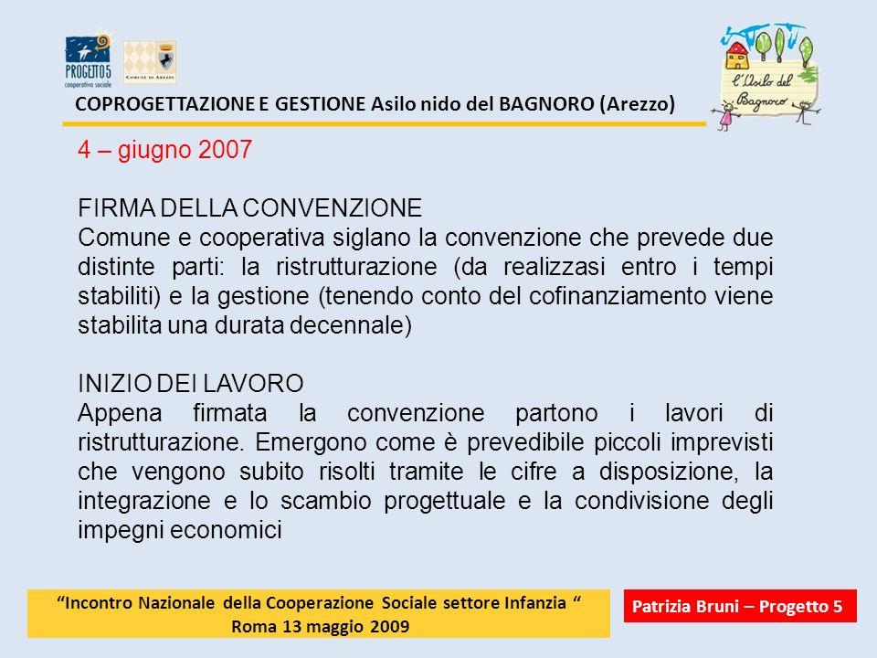 COPROGETTAZIONE E GESTIONE Asilo nido del BAGNORO (Arezzo) 4 – giugno 2007 FIRMA DELLA CONVENZIONE Comune e cooperativa siglano la convenzione che pre