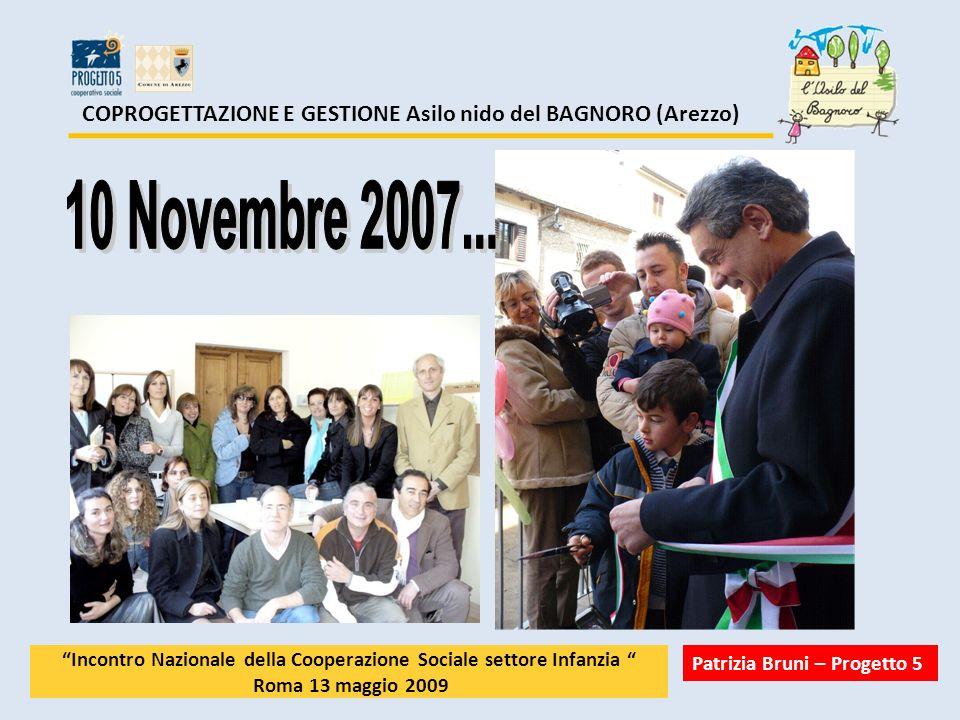 COPROGETTAZIONE E GESTIONE Asilo nido del BAGNORO (Arezzo) Incontro Nazionale della Cooperazione Sociale settore Infanzia Roma 13 maggio 2009 Patrizia