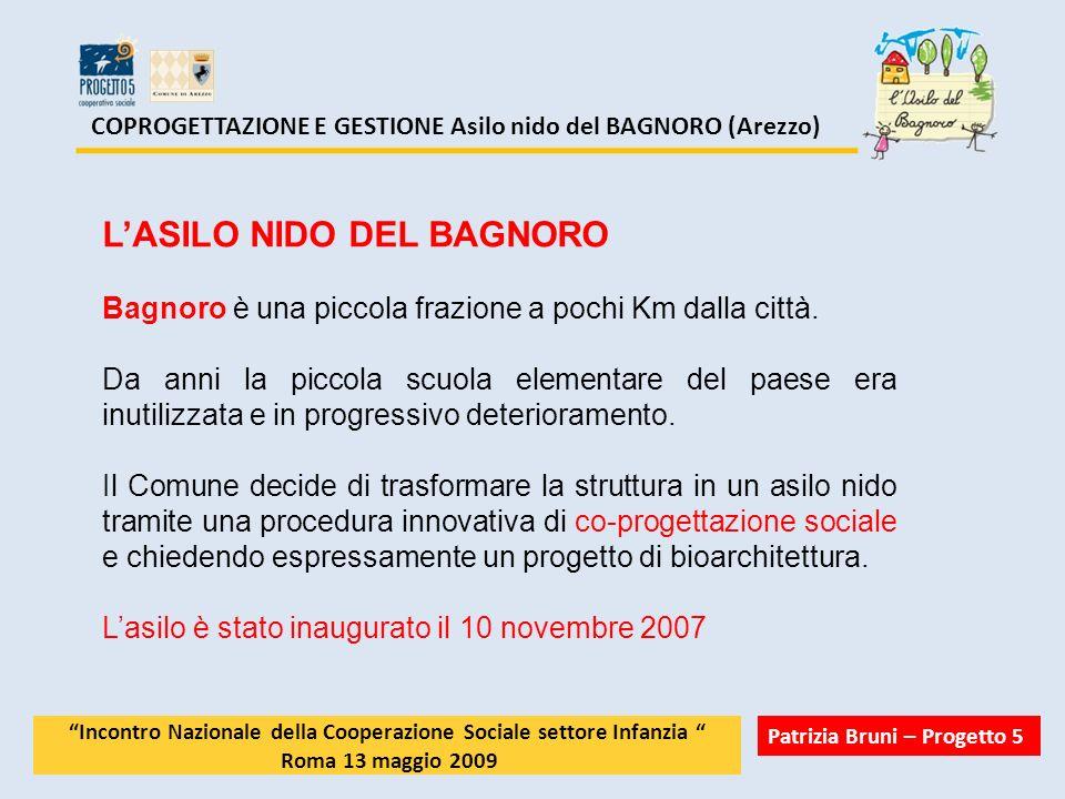 COPROGETTAZIONE E GESTIONE Asilo nido del BAGNORO (Arezzo) 2 – dicembre 2006 AGGIUDICAZIONE DELLA ISTRUTTORIA PUBBLICA DI CO- PROGETTAZIONE SOCIALE Come previsto subito dopo la scadenza del bando il comune fa una rapida valutazione dei progetti arrivati (2) e comunica a Progetto 5 che è risultata vincitrice avviando subito la fase di coprogettazione.