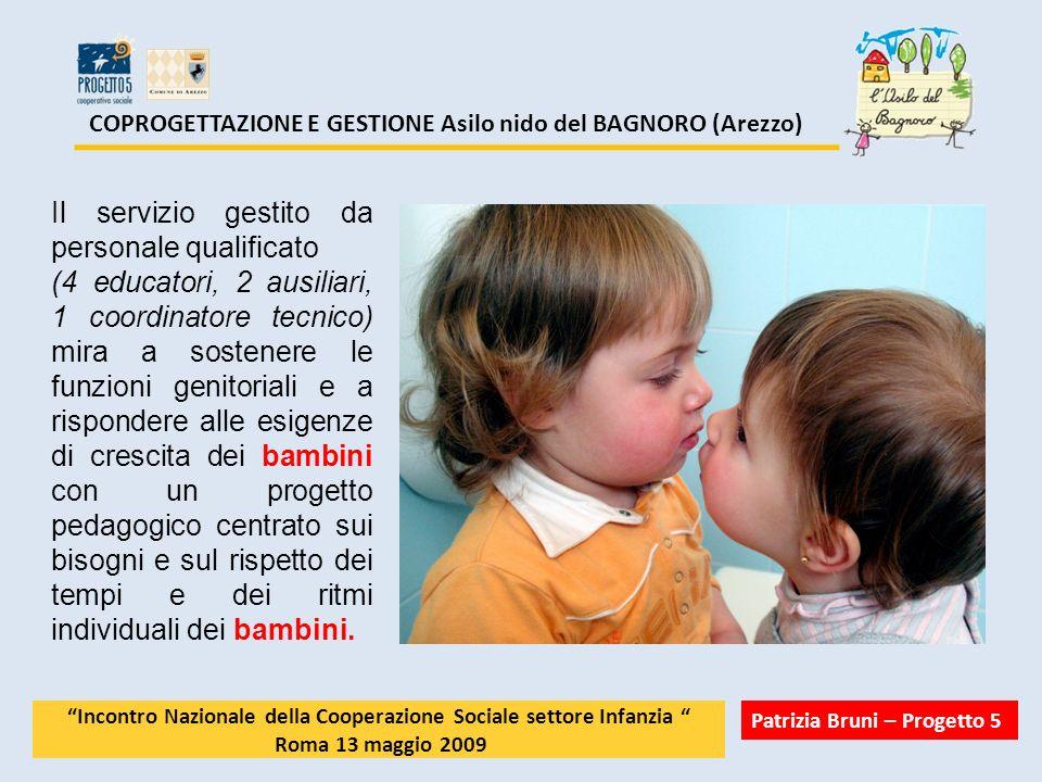 COPROGETTAZIONE E GESTIONE Asilo nido del BAGNORO (Arezzo) Il servizio gestito da personale qualificato (4 educatori, 2 ausiliari, 1 coordinatore tecn