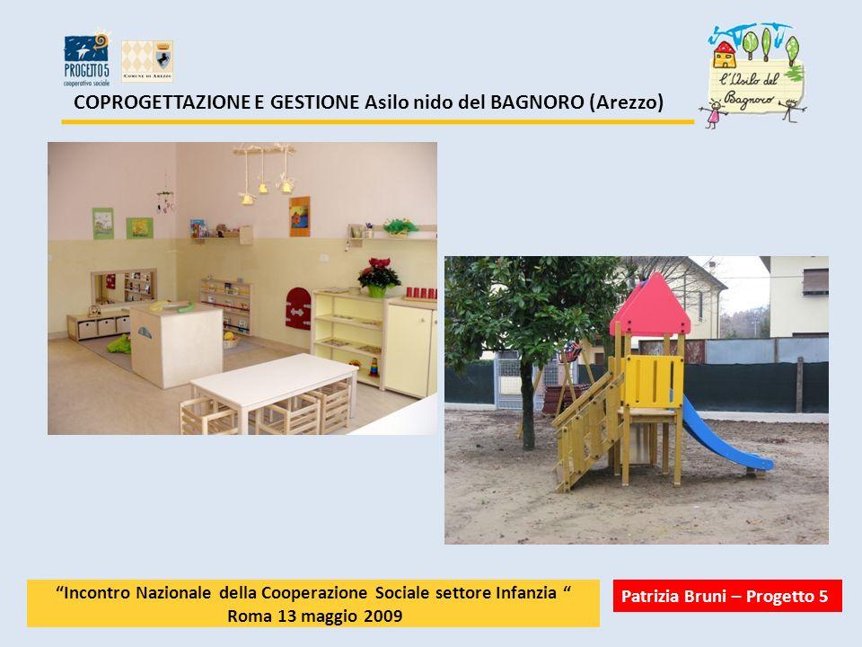 COPROGETTAZIONE E GESTIONE Asilo nido del BAGNORO (Arezzo) Incontro Nazionale della Cooperazione Sociale settore Infanzia Roma 13 maggio 2009 Patrizia Bruni – Progetto 5