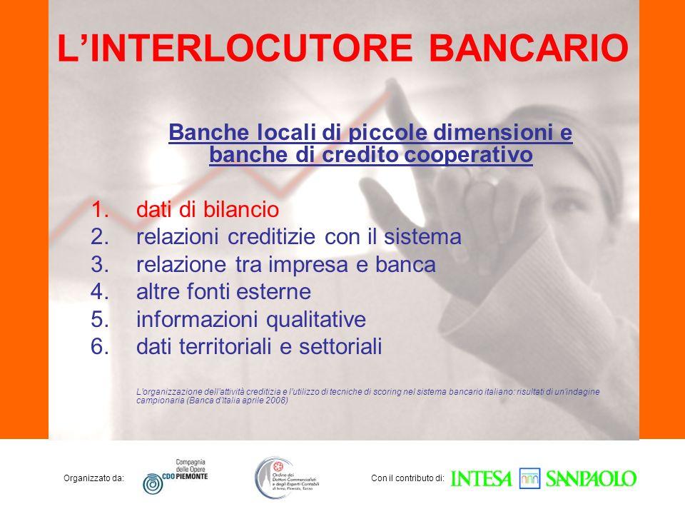 Organizzato da:Con il contributo di: LINTERLOCUTORE BANCARIO Banche locali di piccole dimensioni e banche di credito cooperativo 1.dati di bilancio 2.