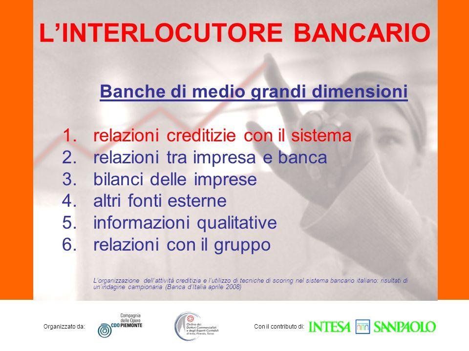 Organizzato da:Con il contributo di: LINTERLOCUTORE BANCARIO Banche di medio grandi dimensioni 1.relazioni creditizie con il sistema 2.relazioni tra i