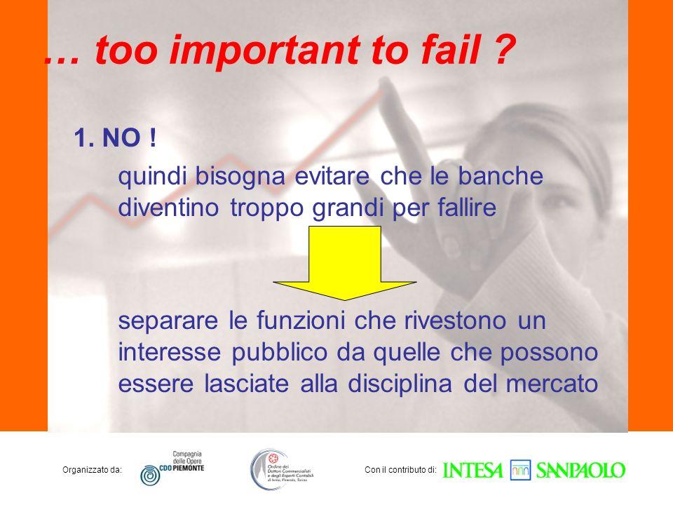 Organizzato da:Con il contributo di: … too important to fail ? 1. NO ! quindi bisogna evitare che le banche diventino troppo grandi per fallire separa