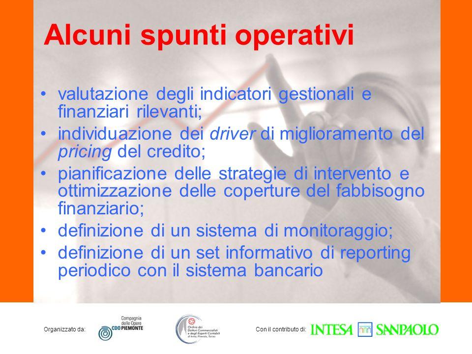 Organizzato da:Con il contributo di: Alcuni spunti operativi valutazione degli indicatori gestionali e finanziari rilevanti; individuazione dei driver