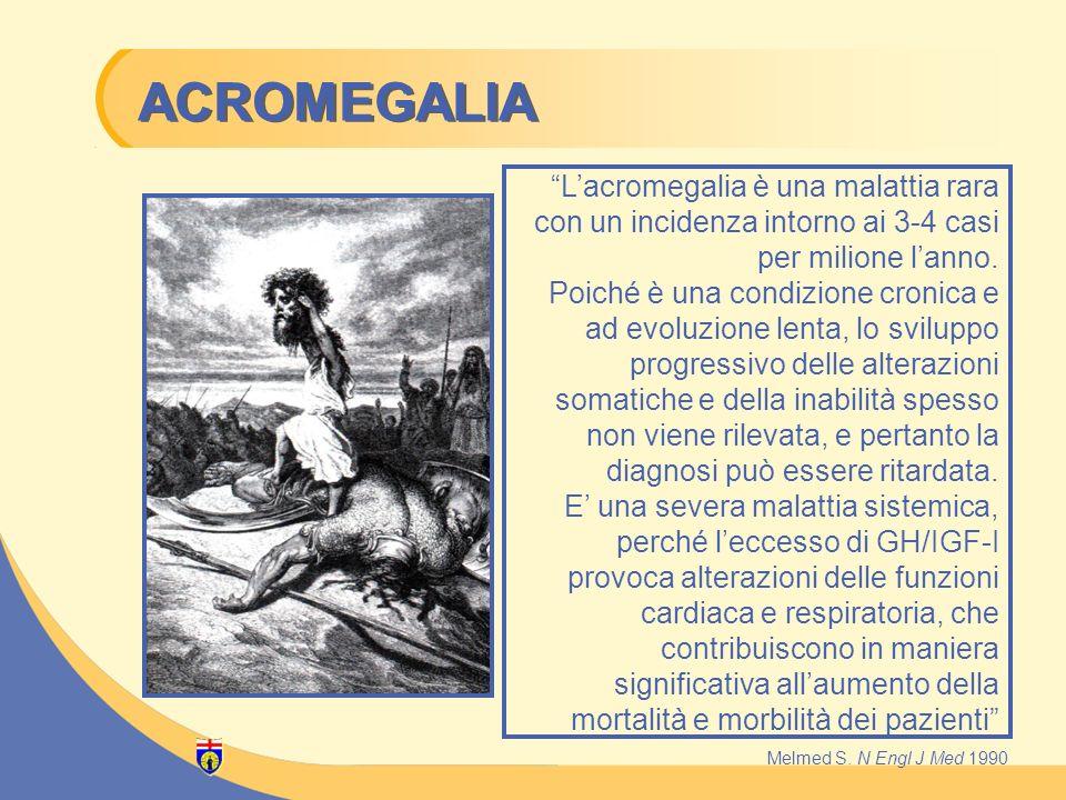 Lacromegalia è una malattia rara con un incidenza intorno ai 3-4 casi per milione lanno. Poiché è una condizione cronica e ad evoluzione lenta, lo svi