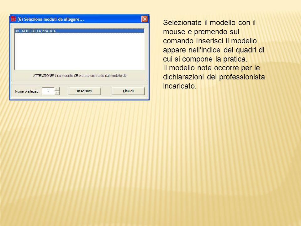 Posizionarsi con il mouse sulla prima voce indice per iniziare la compilazione della modulistica, dopodiché accedere nel riquadro adiacente alla prima sezione Generalità
