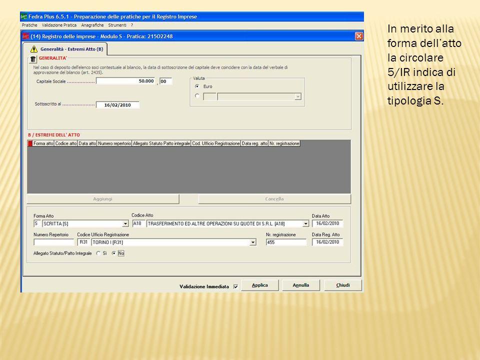 Selezionate la spunta per la validazione immediata al fine di rilevare se sussistono errori nella compilazione della sezione.