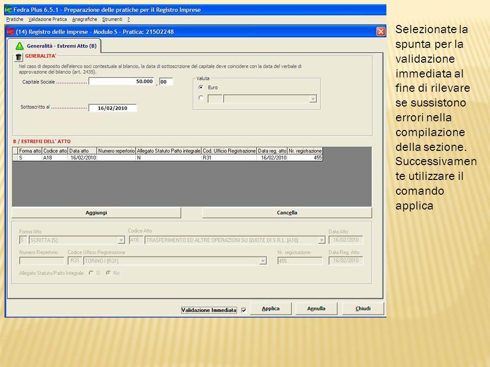 Tornate allindice del riquadro principale e selezionate il riquadro Indicazione analitica variazioni si apre la finestra mostrata in questa slide.