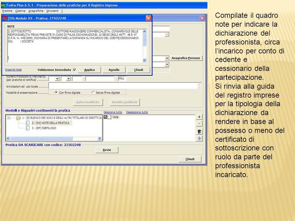Ritornati al cruscotto della pratica selezionare il riepilogo per procedere allallegazione del file.rel.p7m ottenuto a seguito della decompressione della ricevuta di registrazione rilasciata dallAgenzia delle Entrate CQT00nomefileCQS09.rcc.
