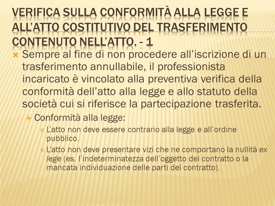 Conformità del trasferimento allatto costitutivo: Il professionista deve quindi verificare che la partecipazione trasferita avvenga nel rispetto delle clausole inserite nellatto costitutivo o nello statuto.
