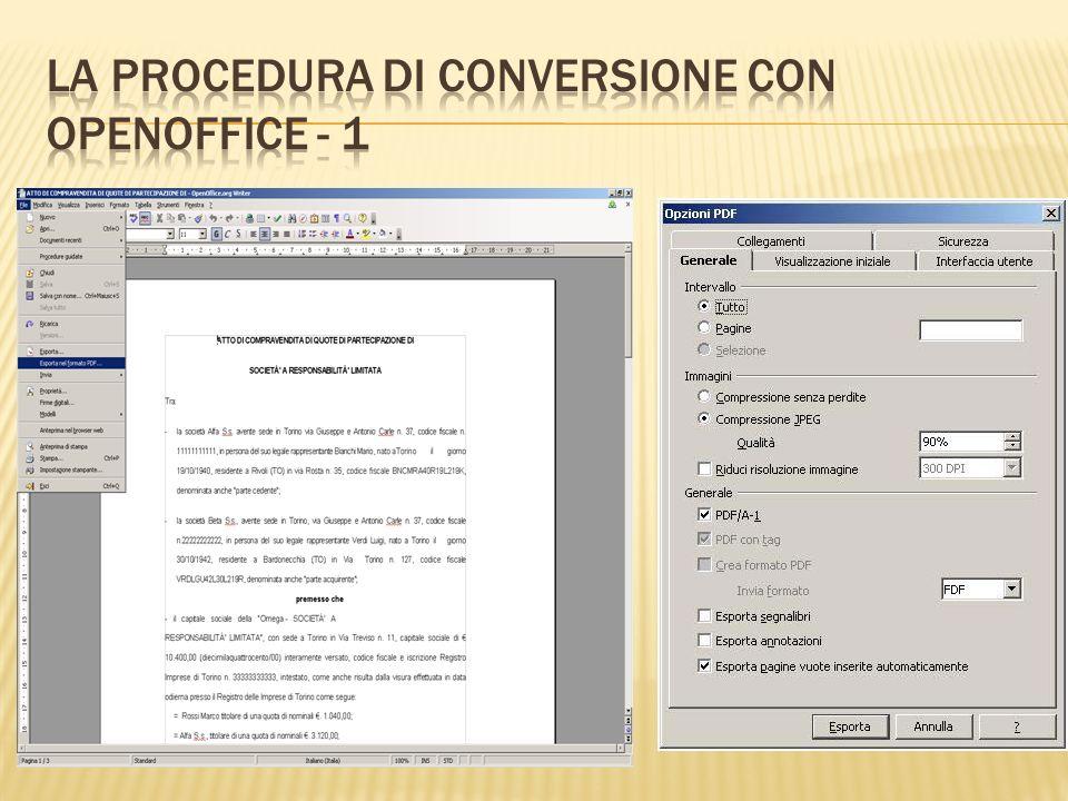 Il file pdf/A deve essere salvato nella cartella locale del vostro PC.