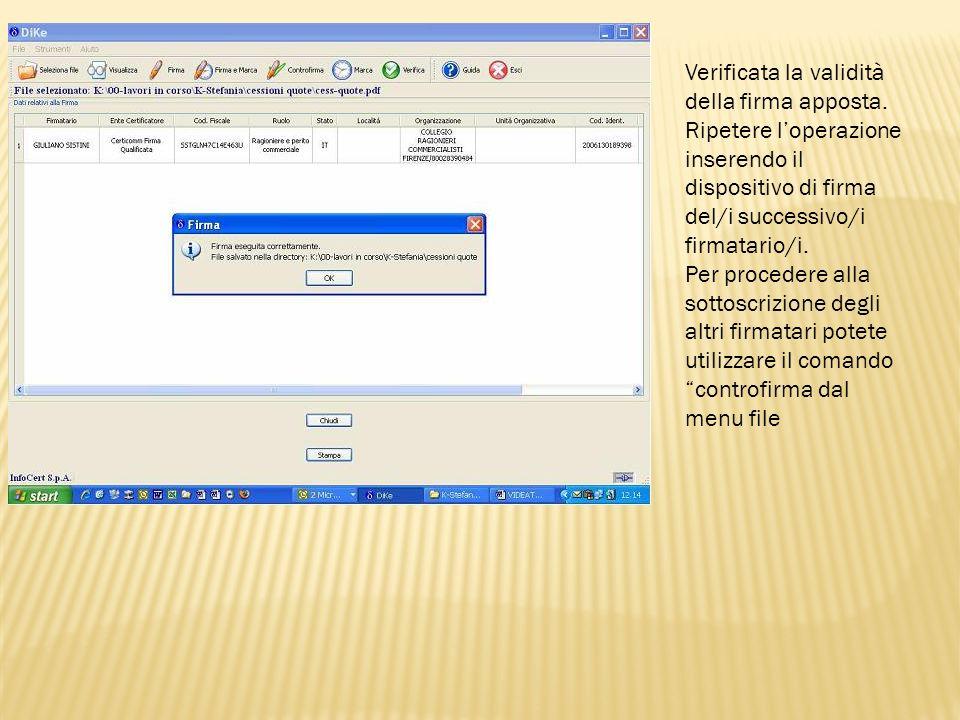 Per le successive firme da apporre occorre selezionare il file con estensione.p7m.