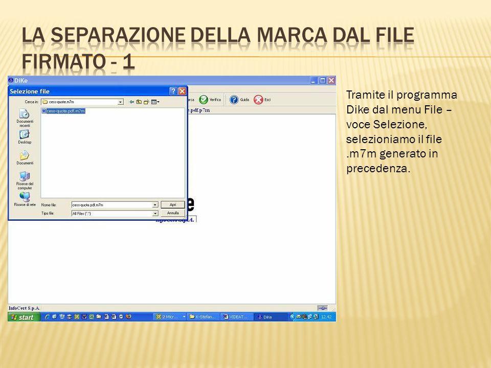 Tramite il menu Configura- zioni occorre indicare il per corso delle cartelle in cui do vranno essere salvati i file generati dalla procedura di separazione.